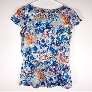Halogen | Sheer Floral Boho Top | Sz SP